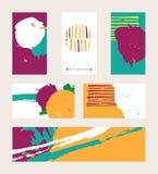 导航与明亮的色的名片的明亮的集合,隔绝在背景 手拉的例证得出与刷子和墨水简单程序设计语言 免版税库存图片
