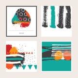 导航与明亮的色的方形的卡片的明亮的集合,隔绝在背景 手拉的例证得出与刷子和墨水splas 免版税图库摄影