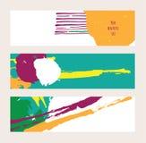 导航与明亮的色的水平的横幅的明亮的集合,隔绝在背景 手拉的例证得出与刷子和墨水 免版税库存图片
