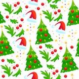 导航与杉树,红色装饰球,在白色背景隔绝的圣诞老人帽子的无缝的圣诞节样式 免版税库存照片