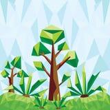 导航与树和仙人掌的低多风景 图库摄影