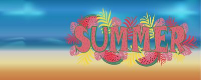 导航与棕榈树桃红色叶子的美丽的横幅bigboard  免版税库存照片