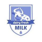 导航与母牛的图象的商标 牛奶和牛奶 库存照片