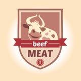 导航与母牛的图象的商标 肉制品 免版税库存照片