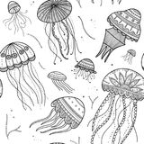 导航与水母的无缝的样式在种族boho样式 免版税库存图片