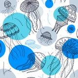 导航与水母的无缝的样式在种族boho样式 库存照片