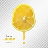 导航与汁液下落的现实切的柠檬  透明的背景 免版税库存图片