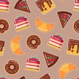 导航与油炸圈饼,蛋糕,奶蛋烘饼,新月形面包的样式 库存图片