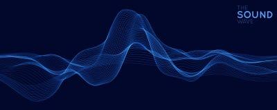导航与浅景深的抽象蓝色数字式调平器作用 声波传染媒介  发光的点 信号 向量例证