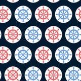 导航与海舵的无缝的样式在蓝色背景 在海洋题材的不尽的样式 免版税库存图片