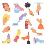 导航与清洁工具手中平的样式的汇集完善对家事包装和五颜六色的国内卫生学 皇族释放例证