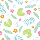 导航与热带植物、叶子和木槿花的乐趣热带夏天夏威夷无缝的样式在白色 免版税图库摄影
