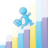 导航与爬上公司梯子、图表成长、发展和成功的一个人的横幅模板 busines的平的设计 免版税图库摄影