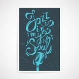 导航与爵士乐的创造性的海报在我的灵魂文本 库存例证