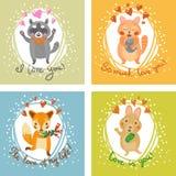 导航与狐狸、猫、兔宝宝和浣熊的礼品券 免版税库存照片