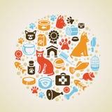 导航与猫和狗图标的框架 免版税库存图片