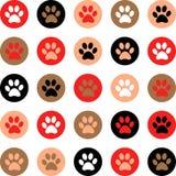 导航与猫或狗脚印的无缝的样式 逗人喜爱的colorfu 库存图片