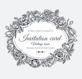 导航与玫瑰的花卉框架在葡萄酒样式 与手拉的花的邀请卡片 库存图片