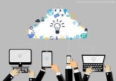 导航与现代通讯技术和企业象片剂形式的商人 使用为工作平的设计 向量例证