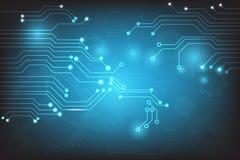 导航与电路板元素的抽象技术在蓝色背景 免版税库存图片