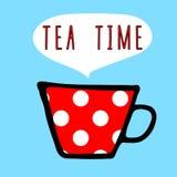 导航与白色圆点样式和信件的茶杯红色 库存例证
