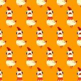 导航与白色雄鸡的无缝的样式在黄色背景 免版税库存照片