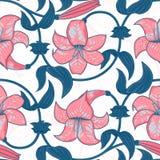 导航与百合花的无缝的样式在白色背景 热带夏天,明亮的蓝色和桃红色颜色 免版税库存图片