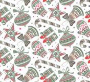 导航与礼物、星和圣诞树的无缝的样式 免版税图库摄影