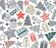 导航与礼物、星和圣诞树的无缝的样式 免版税库存图片