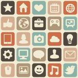 导航与社会媒体图标的无缝的模式 免版税图库摄影