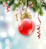 导航与红色球的圣诞树分支在被弄脏的背景 库存照片