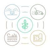 导航与线性例证从事园艺的圈子五颜六色的infographics概念的infographics园艺的事务的 皇族释放例证