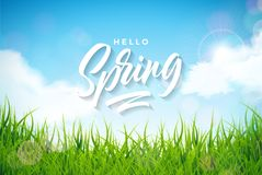 导航与绿草的春天例证在自然风景背景 与印刷术的花卉设计模板 向量例证
