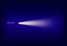 导航与聚光灯,手电,光束,光的抽象紫色横幅与白色火花的 免版税库存图片