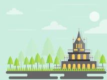 导航与腾飞在天空的大厦和树的都市风景 免版税库存照片