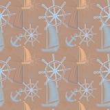 导航与船的无缝的海样式,船` s轮子,船锚 动画片印刷品 也corel凹道例证向量 免版税图库摄影