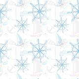 导航与船的无缝的海样式,船` s轮子,船锚 动画片印刷品 也corel凹道例证向量 图库摄影
