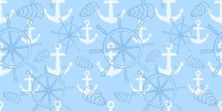 导航与船` s轮子,船锚的无缝的海样式 动画片印刷品 也corel凹道例证向量 库存图片