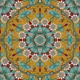 导航与花卉坛场的无缝的纹理在印地安样式 Mehndi装饰物背景 库存图片