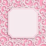 导航与花卉桃红色3d葡萄酒邀请卡片 库存照片
