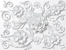导航与花和叶子的美好的白色花卉背景 免版税库存照片