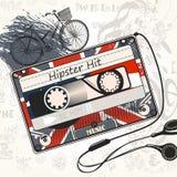 导航与英国f装饰的老卡式磁带的音乐背景 库存照片
