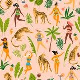 导航与跳舞ladyes的无缝的样式在泳装和豹子 库存例证