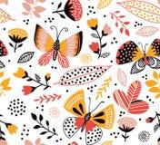 导航与逗人喜爱的蝴蝶、花和植物的无缝的样式 明亮的夏天背景 皇族释放例证