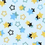 导航与金黄,黑和蓝星的背景 库存照片