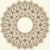 导航与锦缎和蔓藤花纹元素的装饰圆的鞋带 象Zentangle的回合色的花饰 库存例证