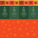 导航与雪花,树,星的圣诞卡 免版税库存照片
