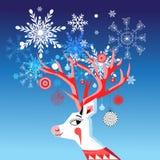 导航与鹿的一张快活的画象的新年卡片 库存照片