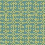 导航与黄色和蓝色的无缝的ikat样式 免版税库存照片