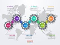 导航与齿轮和世界地图的infographic模板 库存照片